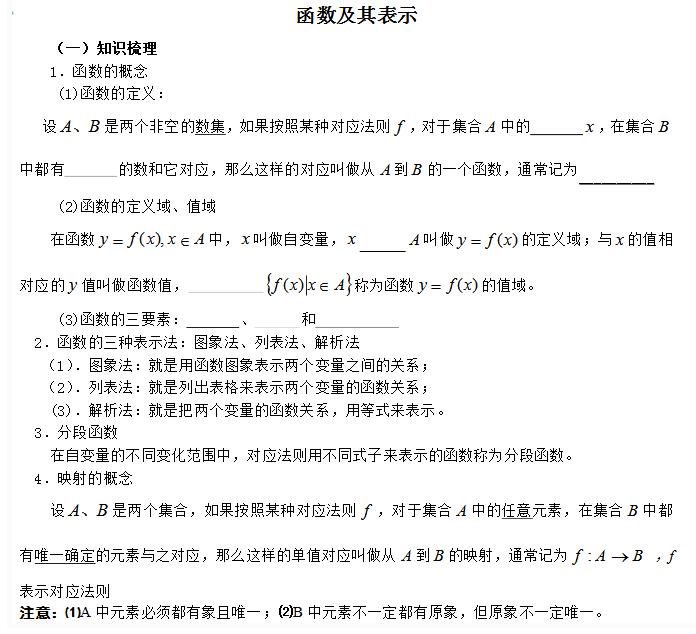 高一数学知识点总结第一章《集合与函数概念》1.2函数及其表示